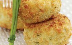 Κροκέτες μπακαλιάρου και πέστροφας Dairy, Cheese, Chicken, Meat, Food, Essen, Yemek, Buffalo Chicken, Cubs