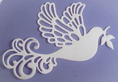 Bespoke die cut dove of peace card toppers / embellishments white 5pack