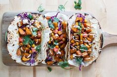Moroccan Sweet Potato and Chickpea Tacos: 15 Vegetarian Tacos *Perfect* for Meatless Monday via Brit + Co