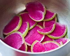 Watermelon Radishes from our garden.  We roasted them in Olive Oil & Sea Salt.  (another recipe here at site)