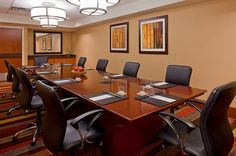 The Mary Todd Lincoln boardroom at the Hyatt Regency Lexington sits beside the Henry Clay boardroom in a private location and are identical in design. Both offer permanent conference seating with executive ergonomically correct chairs, plasma monitors, table-top built in power supply for high speed internet access, executive desk blotters with meeting set up that includes Voss bottled water, pens, pads and candy. Learn more about where to meet in Lexington @Big Lex