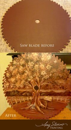 LOVE this!!! I want this done with my saw blade for my entry way or living room!  Saw Blade Painting