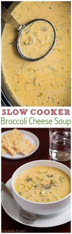 Slow Cooker Broccoli Cheese Soup - This soup was so easy to make and it is DELICIOUS!!