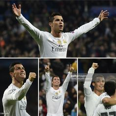 A combination of four pictures taken on December 8, 2015 shows Real Madrid's Portuguese forward <a gi-track='captionPersonalityLinkClicked' href='/galleries/personality/162689' ng-click='$event.stopPropagation()'>Cristiano Ronaldo</a> celebrating respectively his first (Top), (Bottom FromL) second, third and fourth goal during the UEFA Champions League Group A football match Real Madrid CF vs Malmo FF at the Santiago Bernabeu stadium in Madrid. Benzema did a hat trick as Ronaldo scored 4…