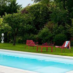 Fauteuil rouge Palma x2 #détente#outdoor#extérieur#ambiance#déco#summer#accessoires#jardin#LaBoutiqueDesjoyaux