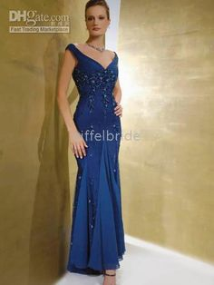 Wholesale Custom-made sexy sapphire V-neckline chiffon applique mother of the bride dress/prom dresses, Free shipping, $100.53/Piece | DHgate Mobile