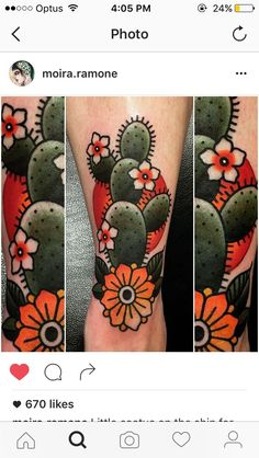 Prickly pear cactus tattoo