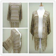 Fringe Crochet Kimono Cardigan by TinaCrochet2016 on Etsy