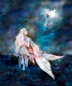 Shimmery magical little mermaid watching the gulls fly by the light of the full moon. Buy her on canvas, print, or greeting card! artwork landscape beautiful Magical Mermaid Art for sale Fantasy Artwork, Mermaid Song, Mermaid Quotes, Mermaid Artwork, Akatsuki, Fantasy Mermaids, Samurai Tattoo, Vampire Knight, Ocean Art