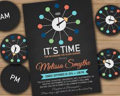 Around the Clock Invitation for Bridal Shower or Baby Shower including Printable Circles for Assigning Time of Day to Each Guest.  Featuring Mid Century Modern George Nelson Ball Clock.  DIY Printable File for Digital Download.  Avery 2 inch Round Label Compatible.