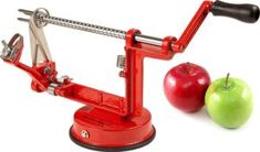 Kitchen Basics® Quick Triple Feature Heavy Duty Apple Peeler, Slicer & Corer / Peel, Slice and Core Simultaneously / Works for Apples, Potat. Best Vegetable Spiralizer, Best Spiralizer, Cool Kitchen Gadgets, Cool Kitchens, Kitchen Tools, Spiral Vegetable Slicer, Donut Maker, Quick Healthy Snacks, Red Kitchen