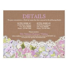 Rustic Lavender Hydrangeas Lace Details Card - invitations custom unique diy personalize occasions