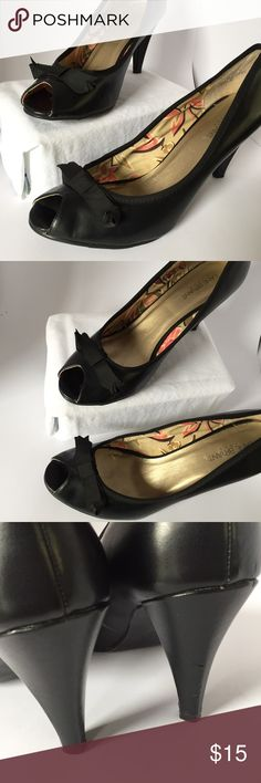 Black Peep-toe Heels - Size 11W Black peep-toe heels from Lane Bryant, super cute - just too big & wide for my feet!  Great condition - one small dent (or maybe scratch, although it's black in color so barely noticeable) which you can see in the 3rd photo. Lane Bryant Shoes Heels