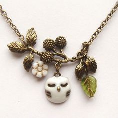 Antiqued Brass Branch White Czech Glass Flower  Owl Necklace