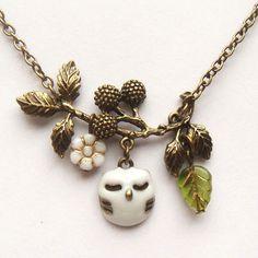 Antiqued Brass Branch White Czech Glass Flower  Owl Necklace