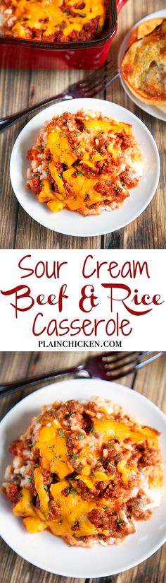 Sour Cream Beef and Rice Casserole - Ready in under 30 minutes!! Rice, sour cream, cottage cheese topped with a quick homemade meat sauce and cheddar cheese. Super quick weeknight meal! Serve with some green beans and crusty bread.