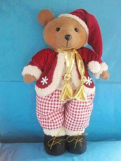 . Teddy Bear, Animals, Holiday Ornaments, Fabrics, Christmas 2016, Fabric Dolls, Bears, Plushies, Snow