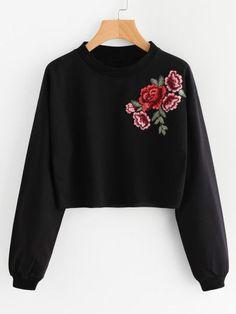 Rose Embroidered Applique Sweatshirt - Sweat Shirt - Ideas of Sweat Shirt - Rose Embroidered Applique Sweatshirt Teen Fashion Outfits, Fashion Mode, Outfits For Teens, Trendy Outfits, Cool Outfits, Fashion Dresses, Trendy Hoodies, Black And White Shirt, Plain Black