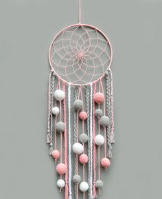 Pink nursery dream catcher Kids room decor wall hanging Christmas gift for baby girl Dreamcatcher with pompoms Baby shower gift - This pink, gray and white dream catcher is a beautiful room for baby girl room. Dream Catcher Pink, Dream Catcher Nursery, Dream Catcher Craft, Diy Dream Catcher For Kids, Dream Catcher Mobile, Homemade Dream Catchers, Doily Dream Catchers, Baby Room Decor, Nursery Decor