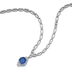 Impressive colour change sapphire and diamond sautoir, 1930s  The chain designed as a series of oval links which can be separated into four different sections, suspending a detachable pendant of geometric design, set at the centre with a colour change sapphire weighing 76.11 carats, millegrain set throughout with single- and circular-cut diamonds, mounted in platinum and gold, length of each section approximately 195, 195, 150 and 155mm, total length approximately 695mm, French assay and…