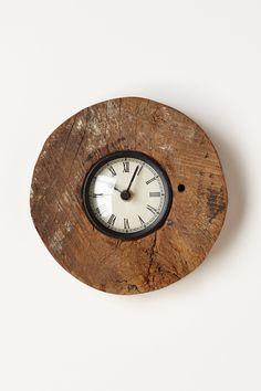 Reclaimed Wood-Wheel Clock - Anthropologie.com