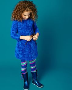 Hug dress! Put on this cobalt blue dress of furry fabric and you'll get FREE HUGS from your daughter! The dress has an adjustable leather belt around the waist. The neckline is decorated with a LOVE ME brooch.