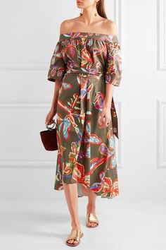 Peter Pilotto - Off-the-shoulder Printed Cotton-blend Poplin Dress - Army green - UK