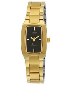Women's Wrist Watches - Casio Womens LTP1165N1C Gold Gold Tone Quartz Watch with Black Dial * Visit the image link more details. (This is an Amazon affiliate link)