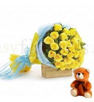 Happiness - Bright Yellow Roses & Bear
