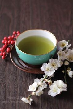 A cup of green tea for breakfast ~  ♥