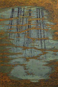 """Stéphane Erouane Dumas, L'automne, reflets, 2013, Oil On Canvas, 77"""" x 51"""" #art #reflections #landscape #axelle #normandy"""