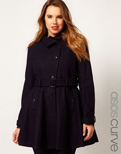 2ed9dff221f Enlarge ASOS CURVE Fit And Flare Coat Fit And Flare Coat