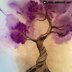 Purple watercolor tree tattoo. Thanks for looking
