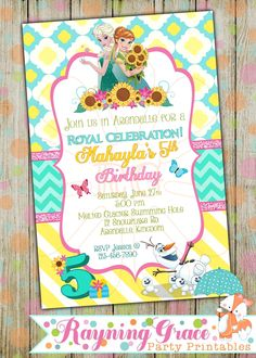Frozen Fever Princess Printable Birthday Party Invitations (Digital/Printable) by RayningGrace on Etsy https://www.etsy.com/listing/238037479/frozen-fever-princess-printable-birthday