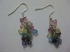 Rainbow earring- Swarovski crystal element, rhodium chain and silver hook.