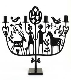 """""""Adam & Eva"""" Candle Holder  by Bengt and Lotta, powder coated iron work."""