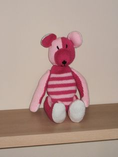 Hand Knit Pink Striped Bear by BonnyBears on Etsy, £13.00