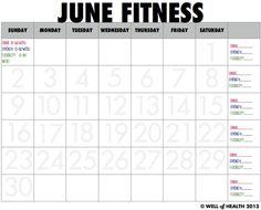 June 2013 Fitness Calendar | Well of Health