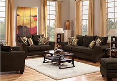 1500 rooms to go picture of Santa Monica Brown 3 Pc Living Room  from Living Room Sets Furniture