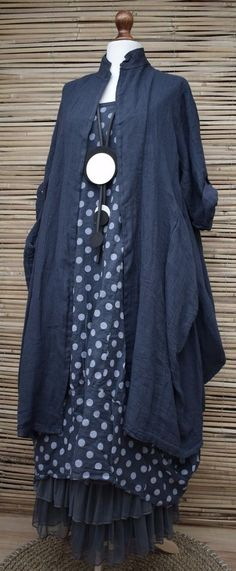 LAGENLOOK LINEN OVERSIZE AMAZING 2 PCS DOTS DRESS+LONG JACKET***NAVY***XL-XXL in Clothes, Shoes & Accessories, Women's Clothing, Dresses | eBay!