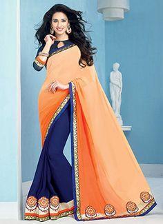 Navy Blue N Orange Half N Half Saree