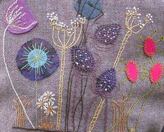 Embroidery Projects Floral Embroidery - Hand embroidered on wool, lined with tartan. Wool Embroidery, Wool Applique, Embroidery Applique, Cross Stitch Embroidery, Embroidery Patterns, Machine Embroidery, Flower Embroidery, Sewing Art, Sewing Crafts