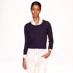 "J Crew navy cropped cotton sweater Fun cropped sweater with ribbed neckline, cuffs and waistband. NWOT. Adorable over a button down. Measurements:  (laying flat): Shoulder seam to shoulder seam - 13.5""; Shoulder seam to cuff - 21""; Bust - 36""; Waist - 32""; Nape of neck to bottom hem (length) - 18"". Made of cotton.  No trades. No modeling. J. Crew Sweaters Crew & Scoop Necks"