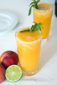 This Frozen Peach Margarita is a cocktail made with the freshest of ingredients... Fresh peaches, honey, and tequila! You won't find any schnapps here.
