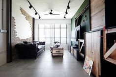 A loft-style space typically features a wide, open floor plan, large windows allowing lots of light in, and high ceilings, and is characterised by urban design. Here are some HDB flat homes with designs that embrace loft-style living. Design: Museum Homes Interior Design Website, Office Interior Design, Office Interiors, Interior Ideas, Sweet Home, Living Spaces, Living Room, New Homeowner, Loft Style