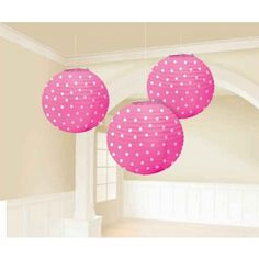 Bright Pink Polka Dot Paper Lanterns | 3pc, 9.5 for $9.65 in Pink Party Supplies - Shop By Color - Party Themes