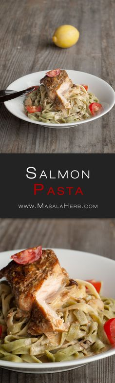 30 Minutes Pan-Fried Salmon in White Wine Sauce with Tagliatelle Pasta Recipe. Mediterranian pasta fish recipe with fresh cream, lemon tomato and a healthy amount of white wine. Step by step photo instructions at MasalaHerb.com