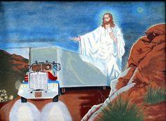 Thrift store art: Jesus protecting trucker, courtesy of David Morse. Thrift Store Art, Art Store, Religious Humor, Religious Art, Christian Soldiers, Flying Spaghetti Monster, Bad Art, Collage Art Mixed Media, Outsider Art