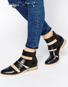 Image 1 ofASOS ALTERNATIVELY Cut Out Leather Ankle Boots