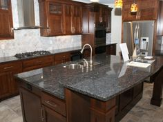 Similar color we want for cabinets, countertop, floors and backsplash. White Cabinets White Countertops, White Kitchen Cabinets, Cherry Cabinets, Off White Kitchens, Home Kitchens, Granite Kitchen, Kitchen Countertops, Blue Pearl Granite, Interior Design Elements